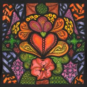 T-Shirt Zentangle Motiv Hearts'n'Flowers Herzen Blumen