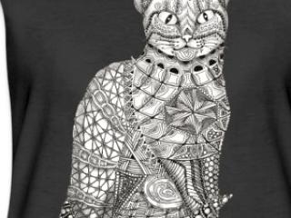 Zentangle T-Shirt Motiv Katze