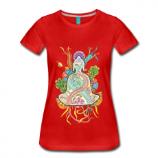 Rotes Zentangle T-Shirt Buddha bunt meditierend