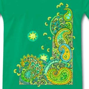 Zentangle T-Shirt Motiv Paisley Madness gruen